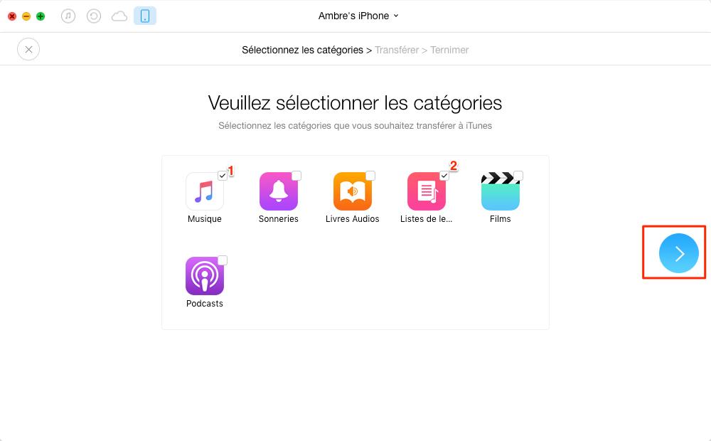 Transférer de la musique d'iPhone vers iTunes – étape 2