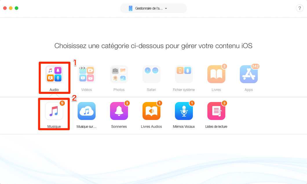 Copier de la musique iPhone X/8/7/6/5/4 vers Mac – étape 2