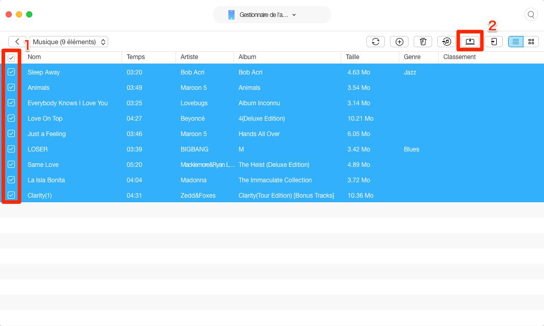 Comment transférer de la musique iPhone vers Mac – étape 3