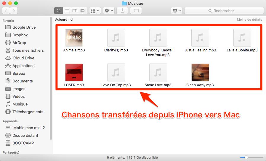Transférer musique iPhone vers Mac sans iTunes – étape 4
