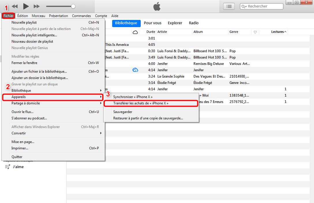 Copier de la musique iPhone vers Mac via iTunes
