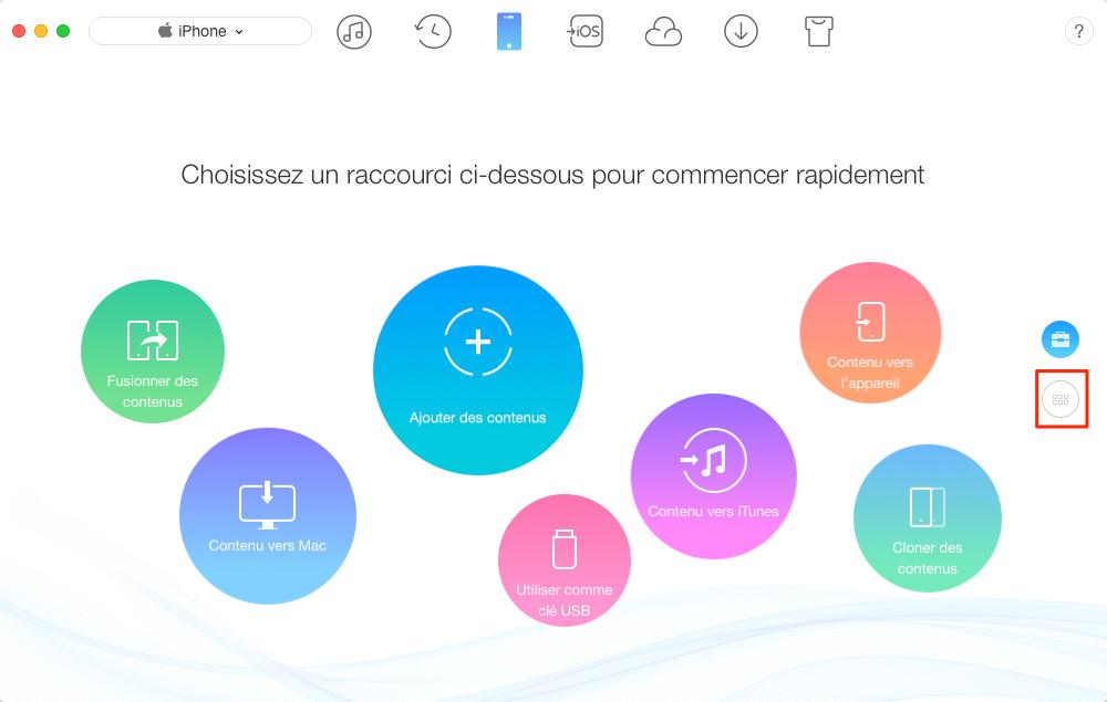 Importer des musiques iPhone vers Mac - étape 1