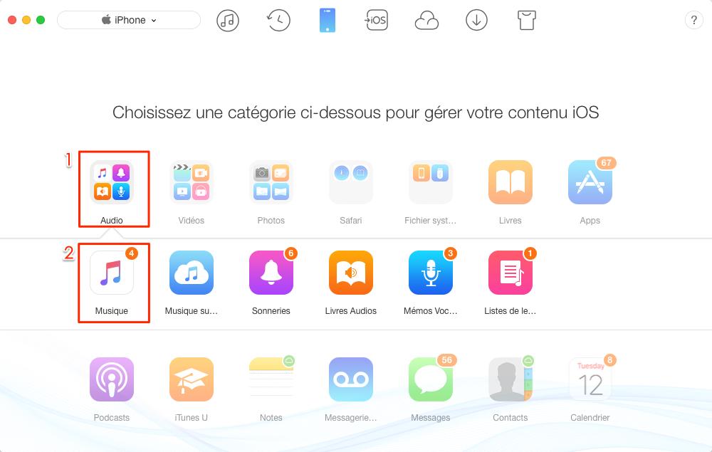 Transférer de la musiques iPhone vers Mac – étape 2