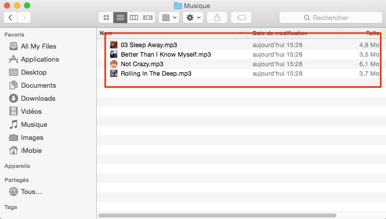 Comment transférer musique iPhone vers Mac – étape 4
