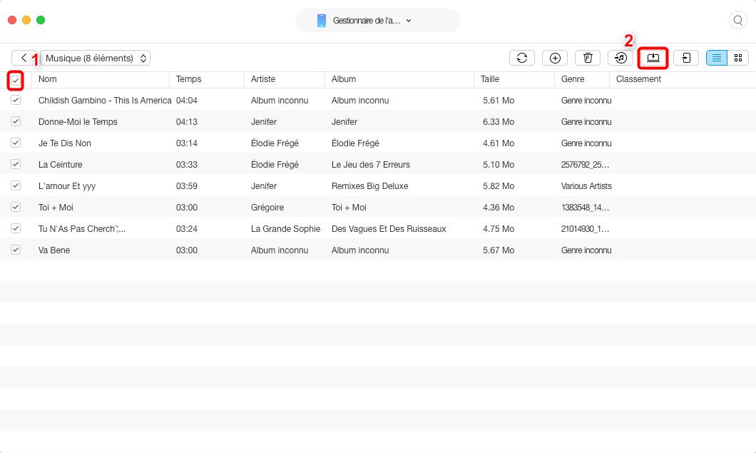 Transférer rapidement musique iPod vers Mac – étape 3