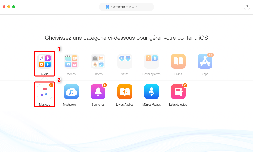 Transférer musique iPod vers Mac avec facilité – étape 2
