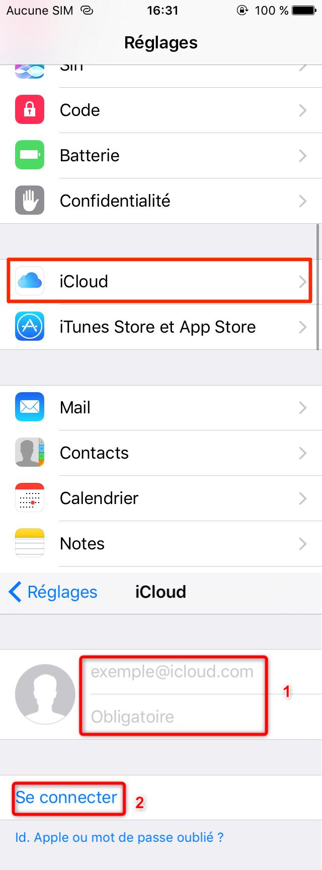 Se connecter au compte Apple