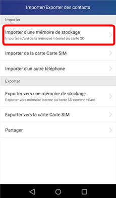 Importer les contacts de la mémoire