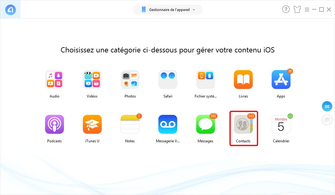 Transférer contacts à partir d'un iPhone 6/7/8/X/XR vers PC – étape 2