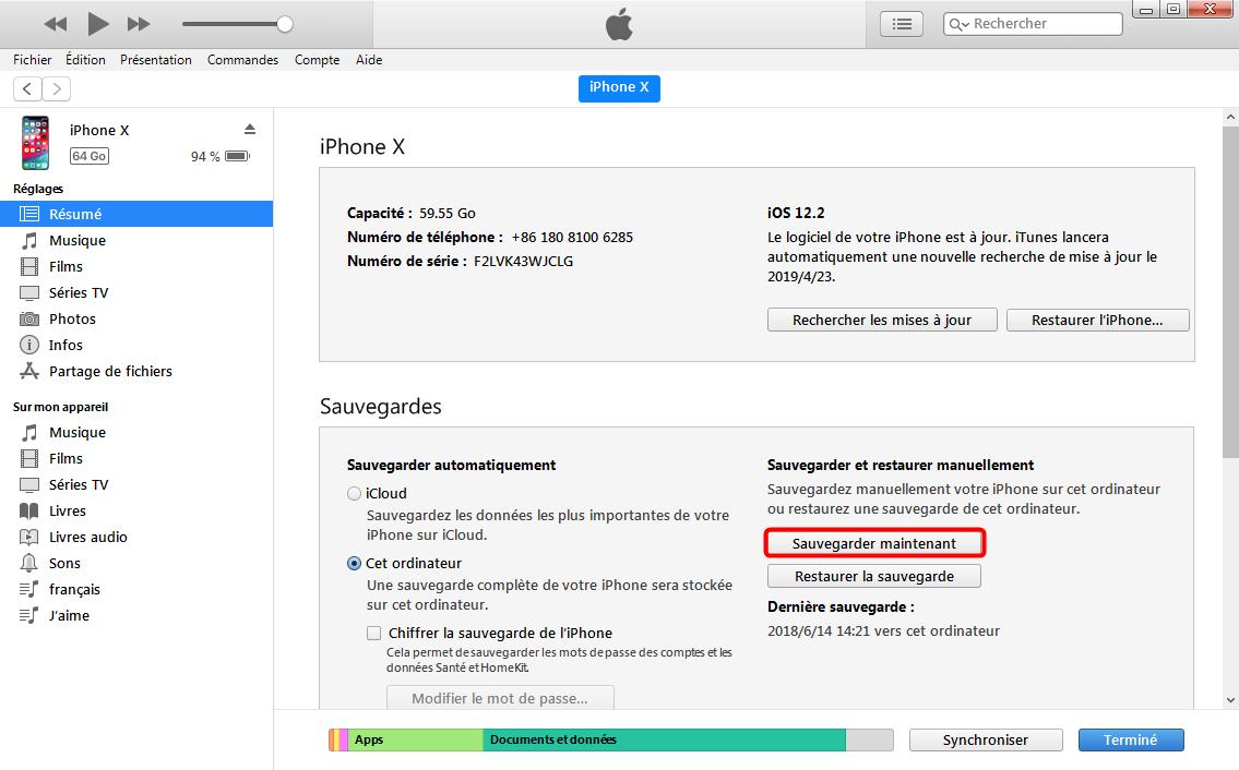 Sauvegarder les contacts iPhone sur PC via iTunes