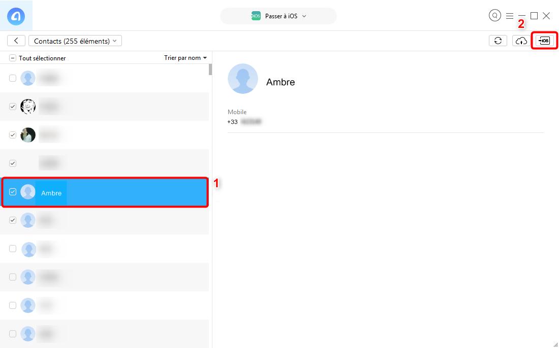 Transférer des contacts Android vers iPhone directement - étape 3