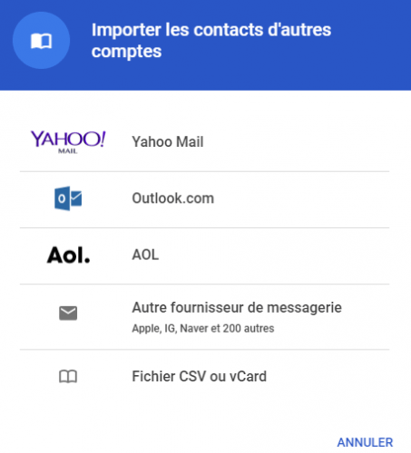 Importer contacts via Gmail