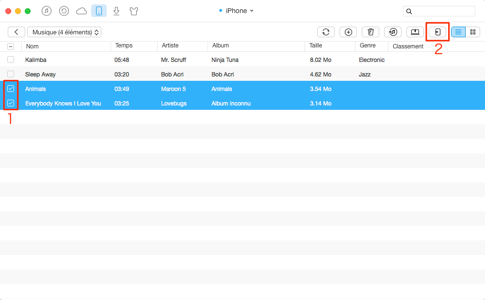 Transfert des musique iPhone vers iPod – étape 3