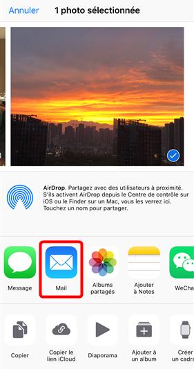 Importer photo iPhone vers PC par courrier