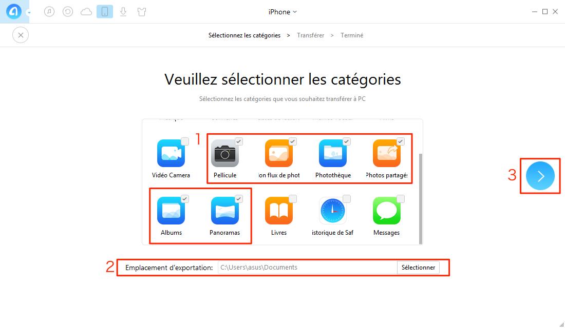 Comment mettre les photos d'iPhone vers PC - étape 2