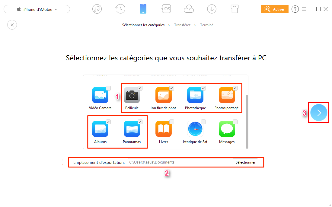 Comment importer les photos iPhone vers PC – étape 2