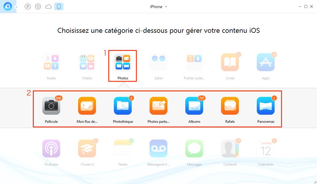 Comment transférer les photos iPhone SE vers PC – étape 1