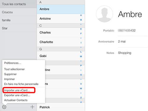 Comment importer vCard sur iPhone avec iCloud
