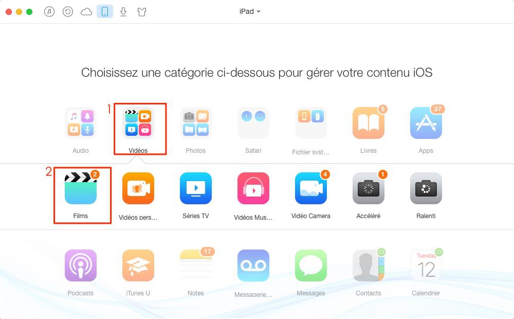 Transférer les vidéos d'iPad vers ordinateur PC ou Mac – étape 2