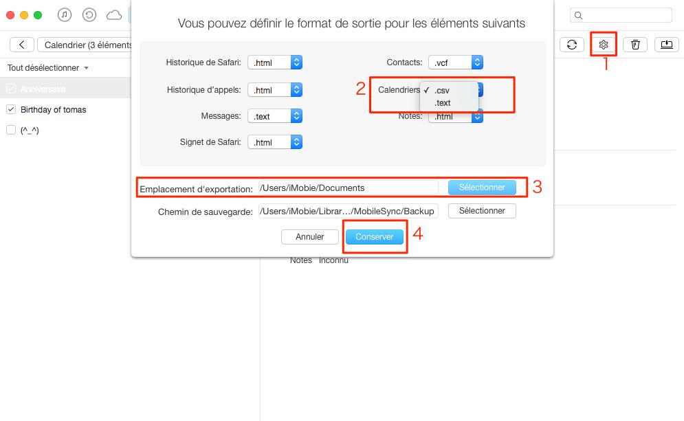 Comment exporter les calendriers depuis iPad vers ordinateur – étape 3