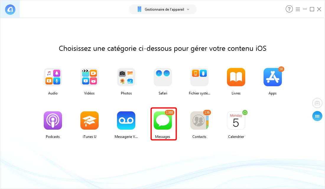 Transférer SMS de l'iPhone vers l'ordinateur – étape 2