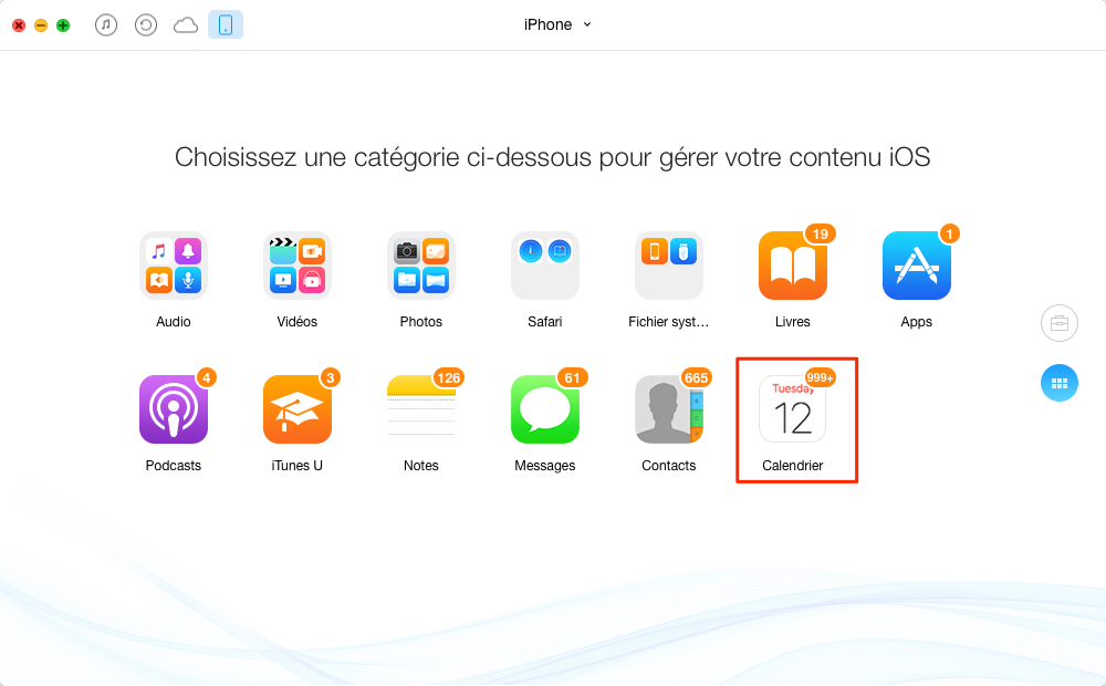 Comment imprimer événements de Calendrier sur votre iPhone - étape 2
