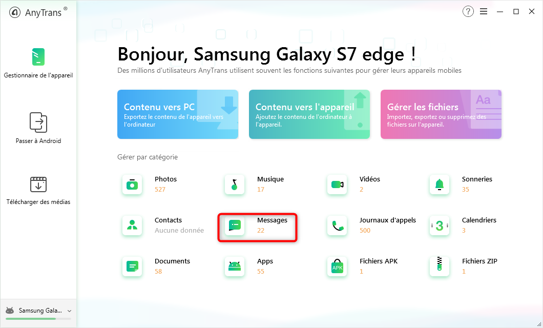 Consulter les messages via AnyTrans pour Android - étape 2