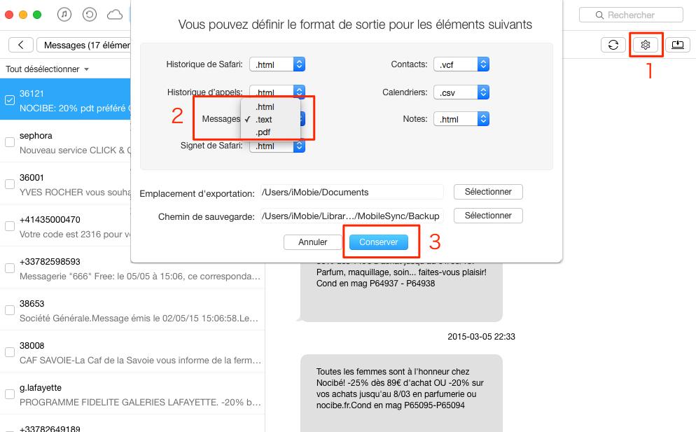 Imprimante des messages iPhone 8 avec facilité - étape 2