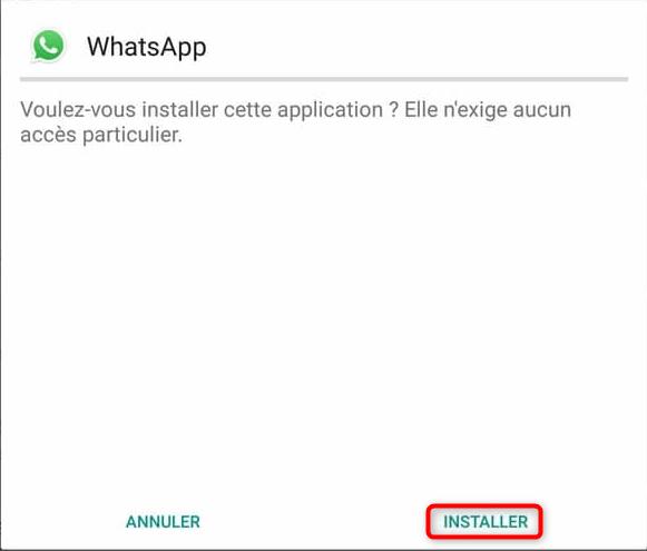 Installation de WhatsApp
