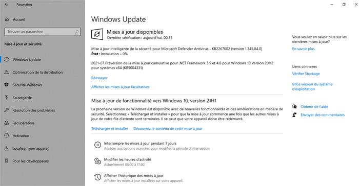 Mise à jour du Windows