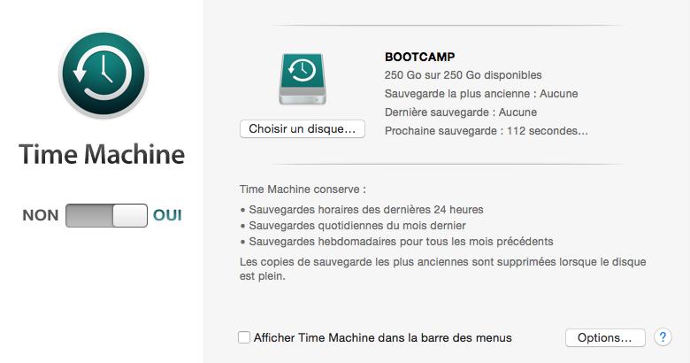 Sauvegarder les contenus de Mac avec Time Machine