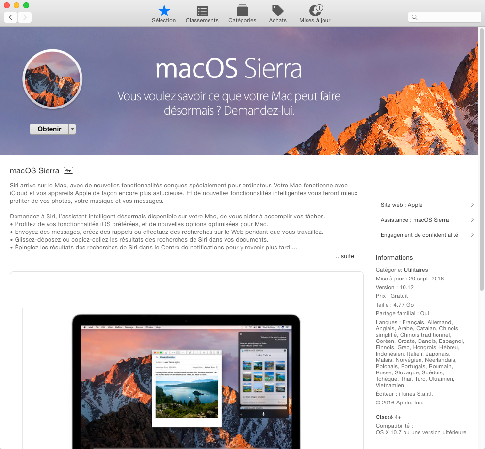 Téléchargez et installez Mac OS Sierra sur App Store