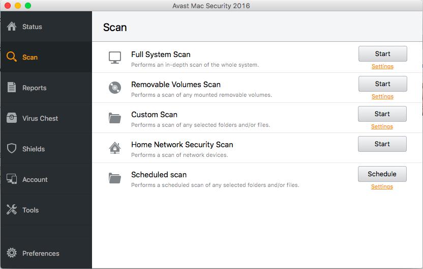 Interface utilisateur d'Avast
