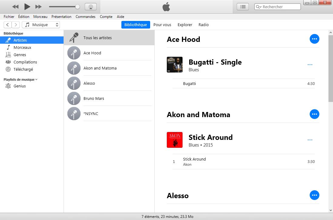 L'interface principale d'iTunes