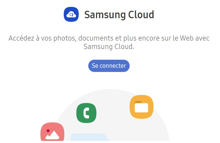 L'interface de Samsung Cloud sur PC