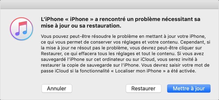 Restaurer votre iPhone qui ne s'allume pas