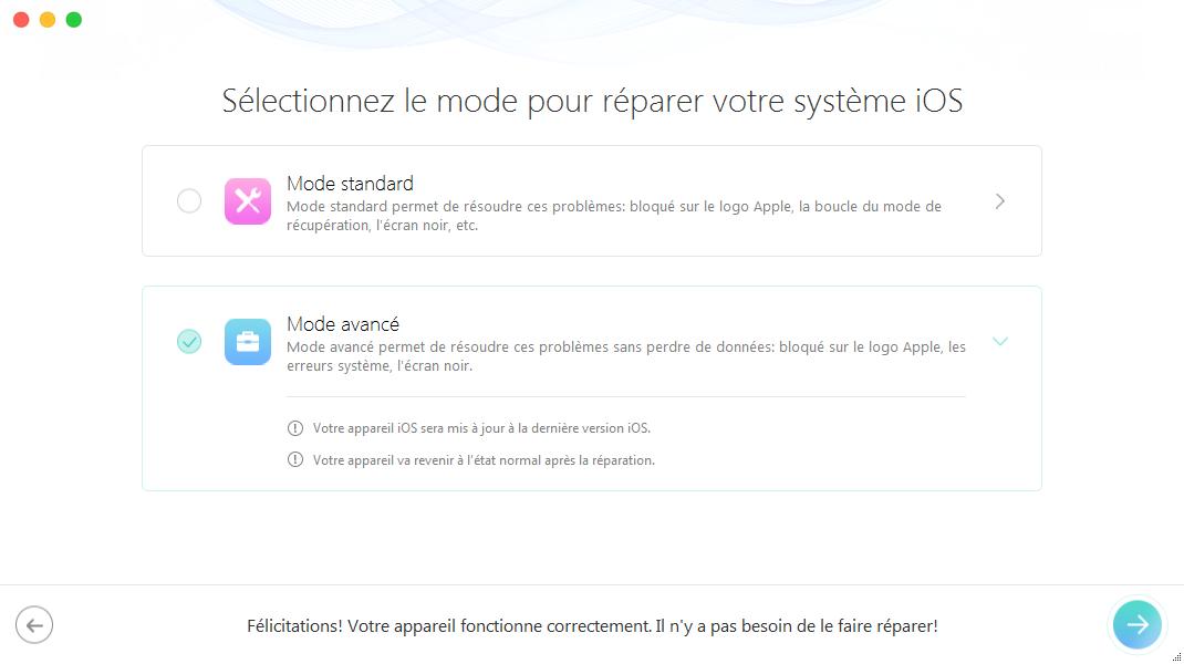 Résoudre le problème iPhone bloqué sur la pomme – étape 3