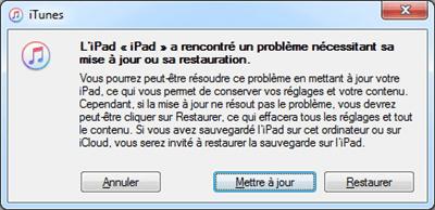 Restaurer ou mettre à jour iPad via iTunes