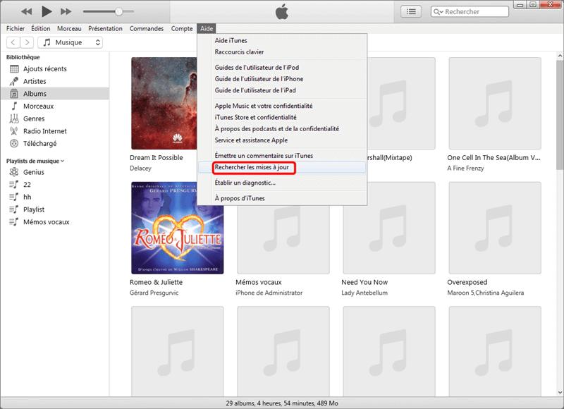 Recherche les mises à jour d'iTunes sur Windows