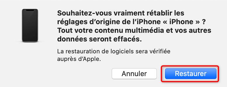 Réinitialisation de l'iPhone