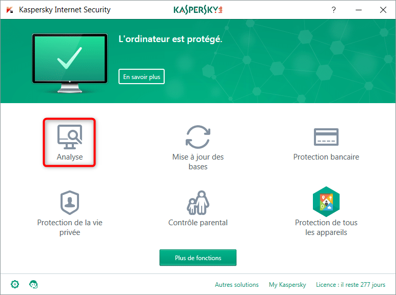 Analyse de l'ordinateur via Kaspersky