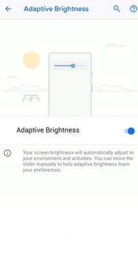 Le menu d'activation de la luminosité adaptative