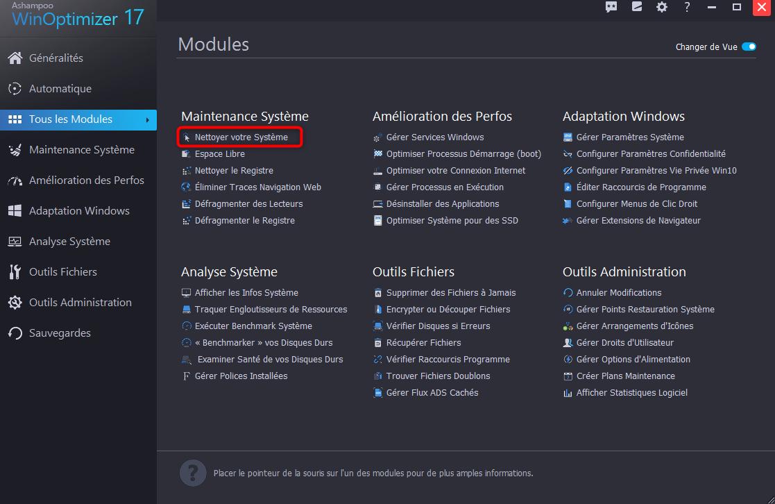Lancement du module de nettoyage de Windows