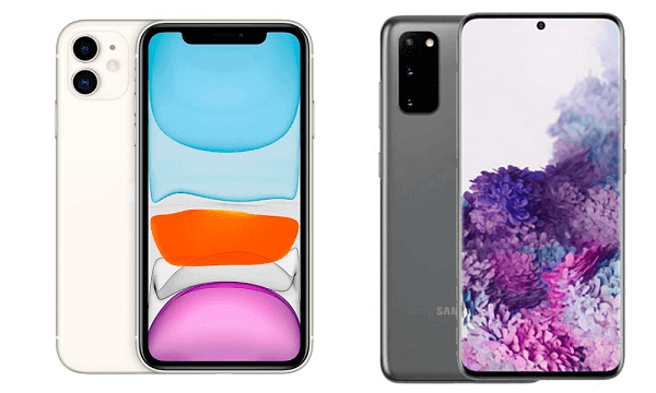 Le design de l'iPhone 11 (à gauche) et le Samsung Galaxy S20