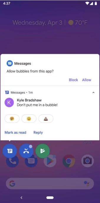 Les bulles de messagerie