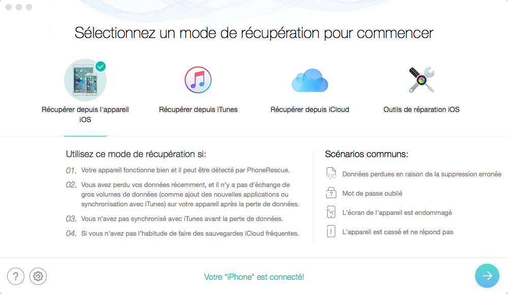 Meilleure alternative à iTunes pour la récupération de données iOS - PhoneRescue