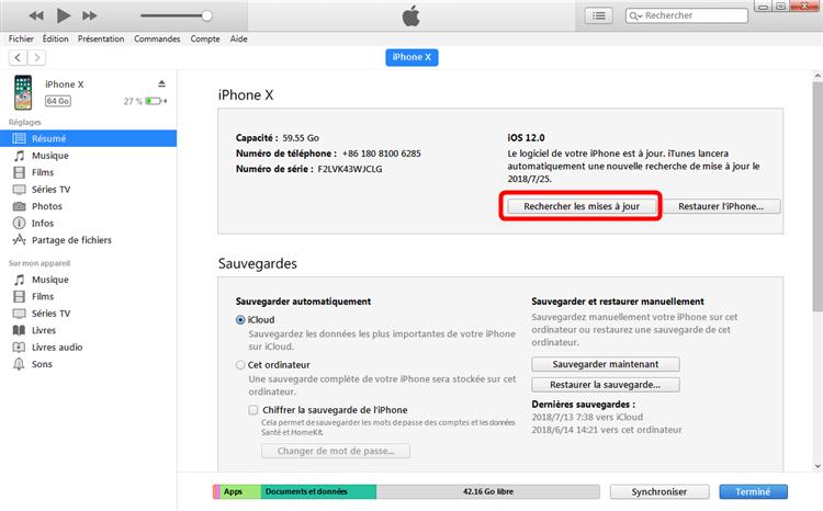 Télécharger la mise à jour iOS via iTunes
