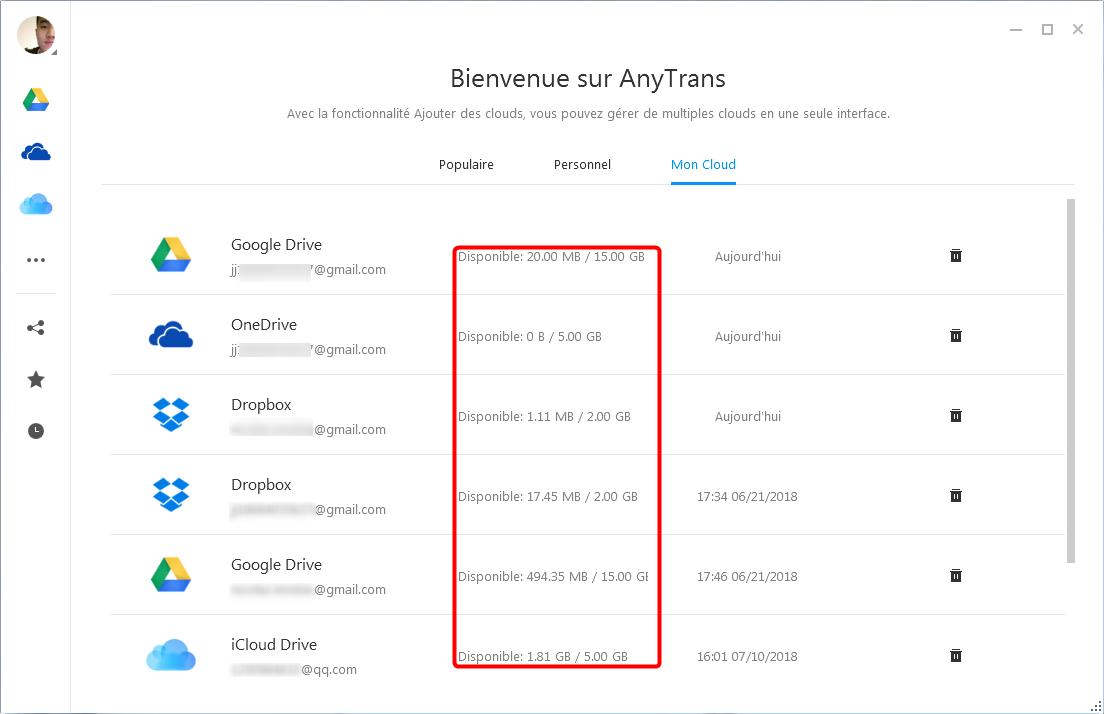 Déplacer le contenu iPhone vers le cloud