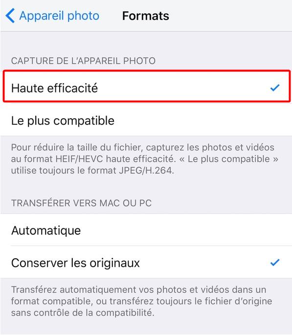 Gagner de l'espace en configurant le format d'image d'iPhone/iPad