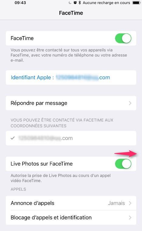 Activer Live Photos sur FaceTime sur les périphériques iOS 11 - Étape 3